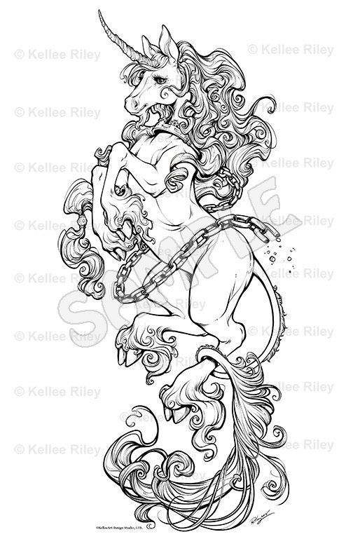 Unicorn Fantasy Myth Mythical Mystical Legend Licorne Enchantment Coloring Pages