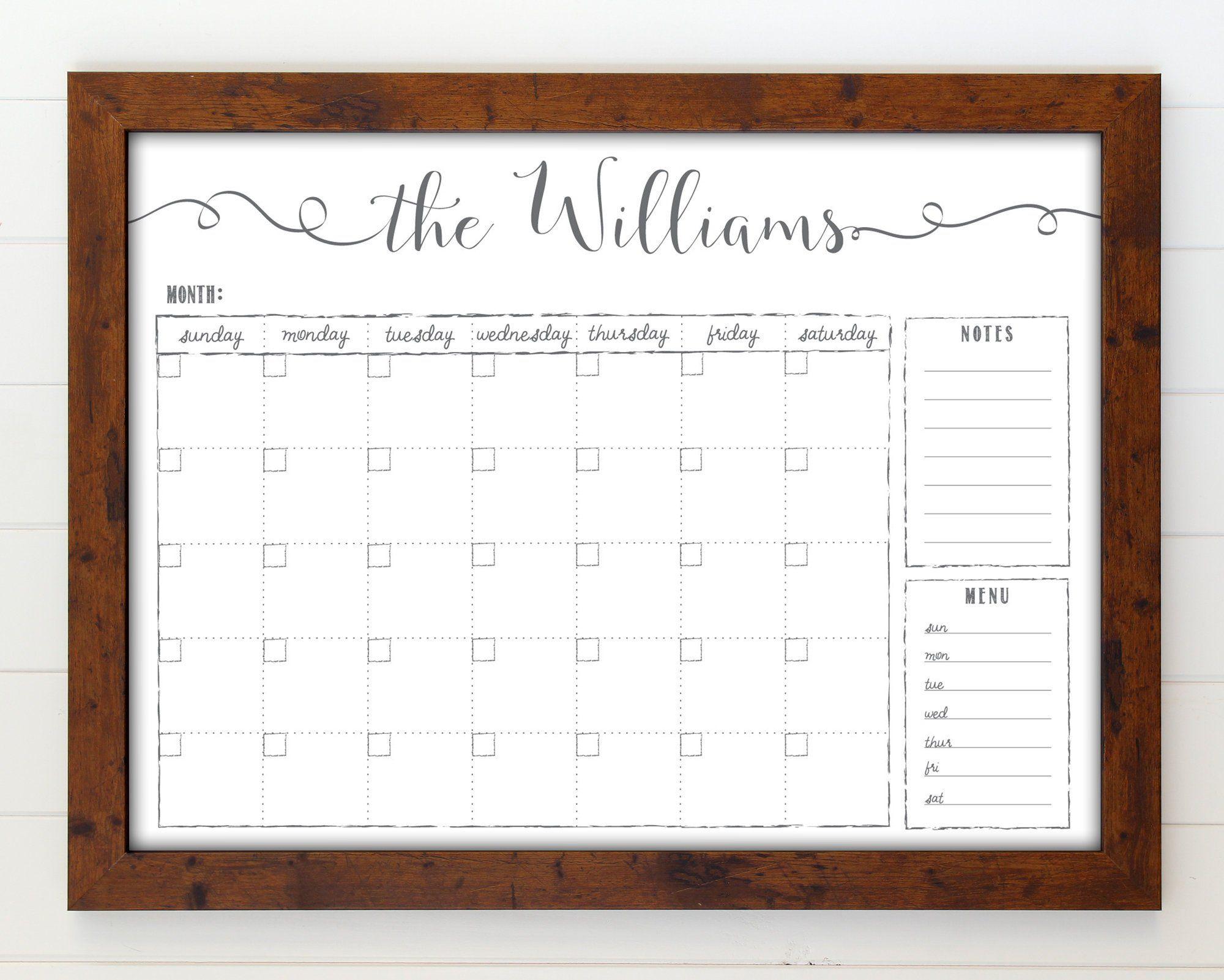 Custom Whiteboard Calendar Dry Erase Farmhouse Calendar Menu
