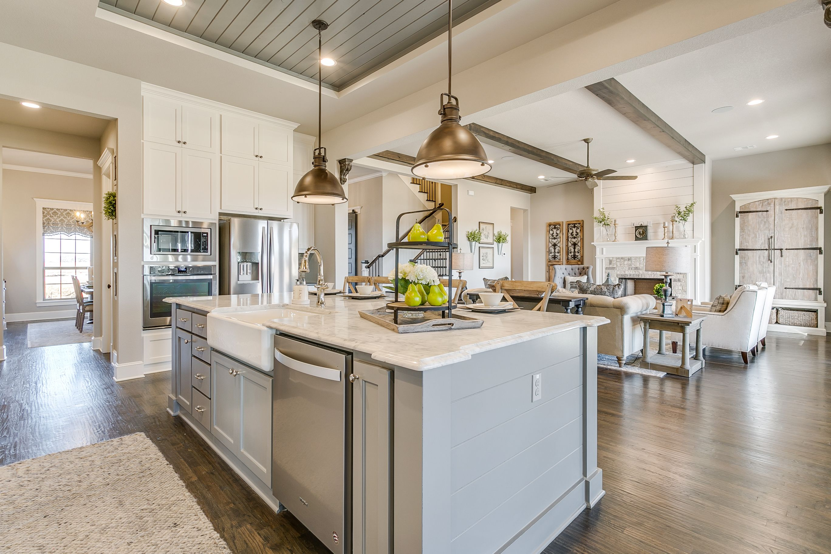 Open Concept Farmhouse Kitchen, Gray painted island ...