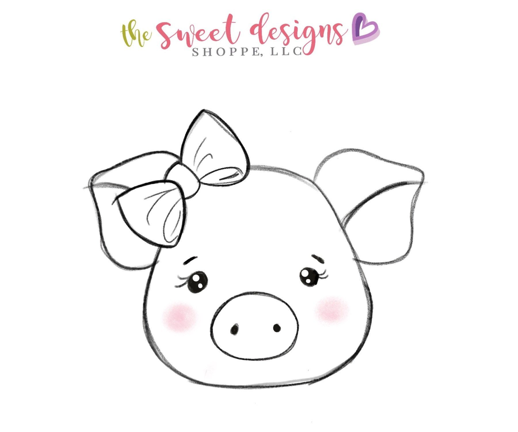 Girly Pig Face - Cutter | Felt animal patterns, Stuffed ...