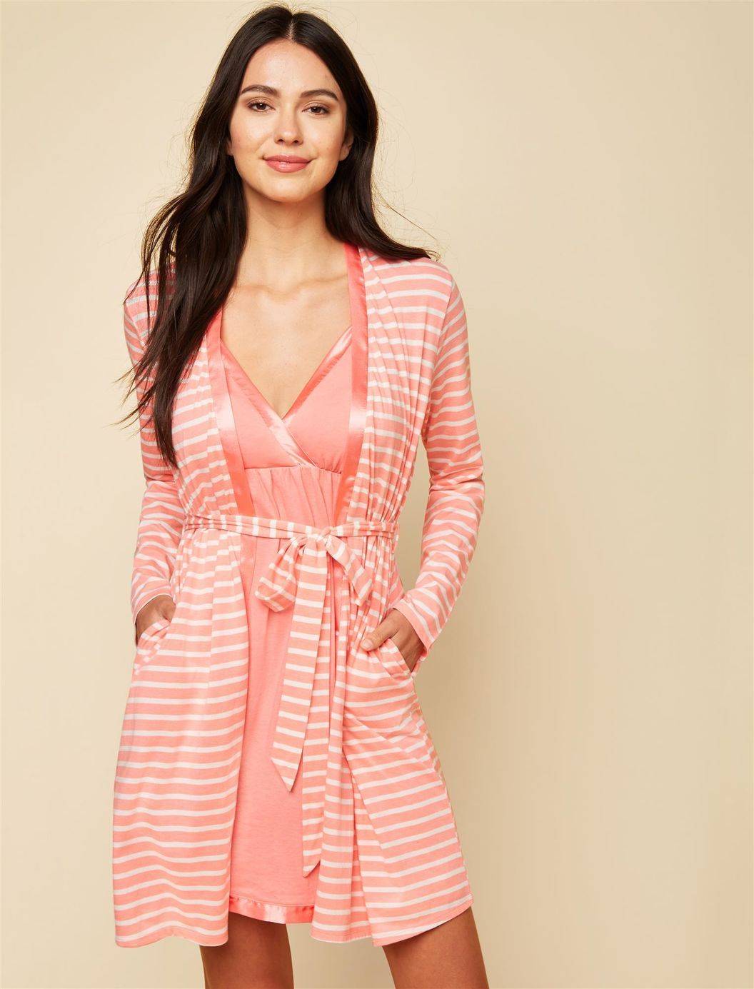 24d141022749d Satin Trim Maternity Nightgown And Robe Set | Motherhood Maternity ...