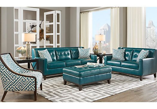 Picture Of Reina Green 3 Pc Leather Living Room From Leather Living Rooms  Furniture