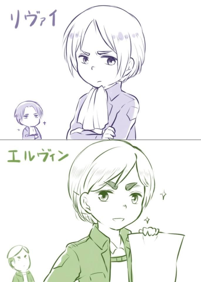 Armin cosplaying Rivaille and Erwin
