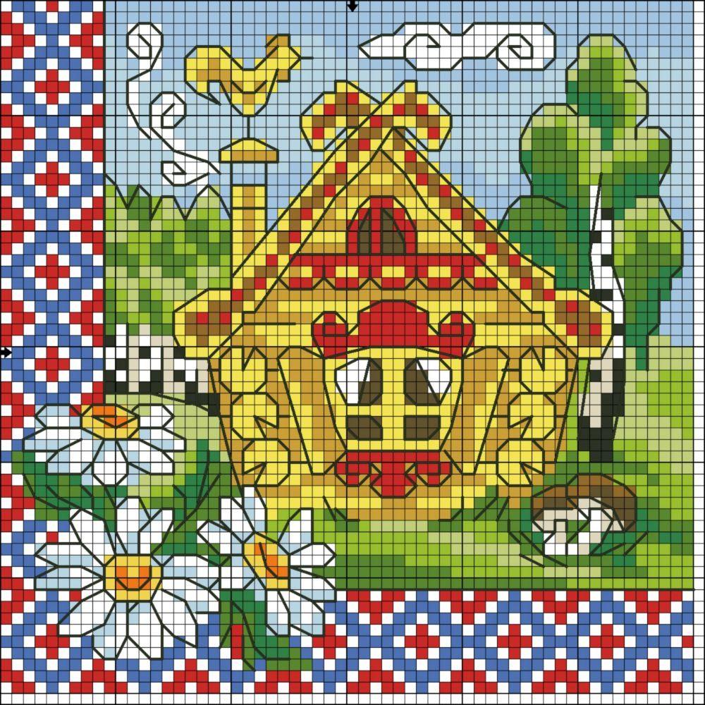 Схема вышивки крестом кошкин дом