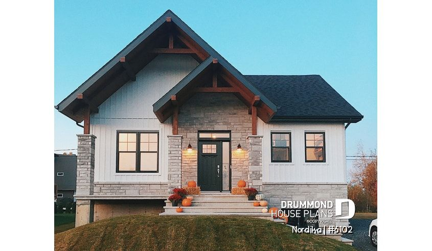 Discover The Plan 6102 Nordika Which Will Please You For Its 1 2 3 Bedrooms And For Its Modern Rustic Styles Drummond House Plans Ranch Style House Plans Townhouse Exterior