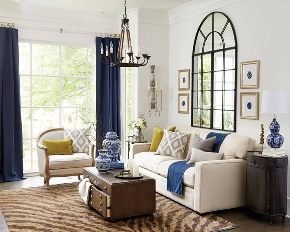 Elegant Fantastic Contemporary Living Room With Blue Curtains And Beige Sofa  #LampsLivingRoom