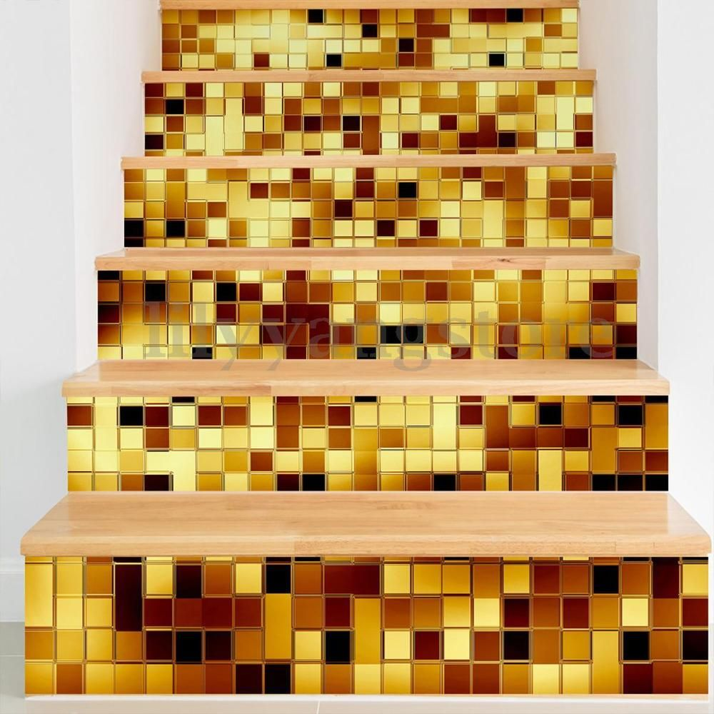 3D Gold Mosaic Stair Risers Sticker Decoration PVC Mural Vinyl Decal ...