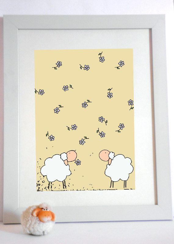 Nursery wall art/ kids  - Art work print for children and baby - Two white sheep under a  flowers rain. $12.00, via Etsy.