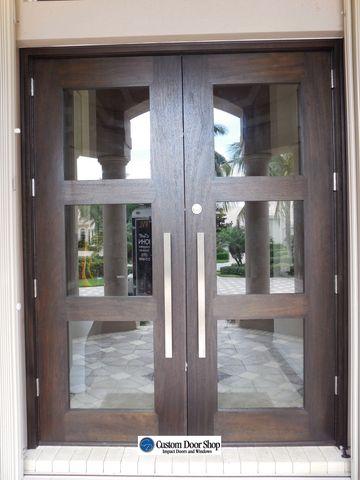 Contemporary custom mahogany double wood doors with inserts and contemporary custom mahogany double wood doors with inserts and stainless steel pulls impact and hurricane planetlyrics Choice Image