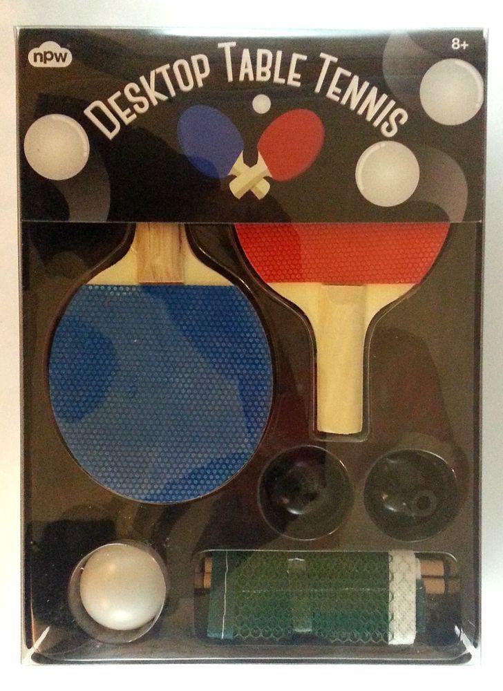 NPW DESKTOP TABLE TENNIS PING PONG SET 2 mini paddlesnet and ball #NPW & NPW DESKTOP TABLE TENNIS PING PONG SET 2 mini paddlesnet and ball ...
