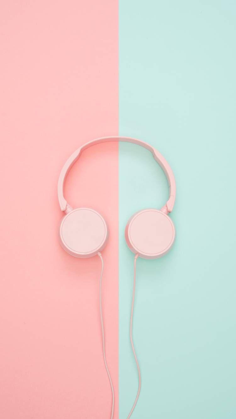 Pink Headphones Kertas Dinding Wallpaper Ponsel Instalasi Seni