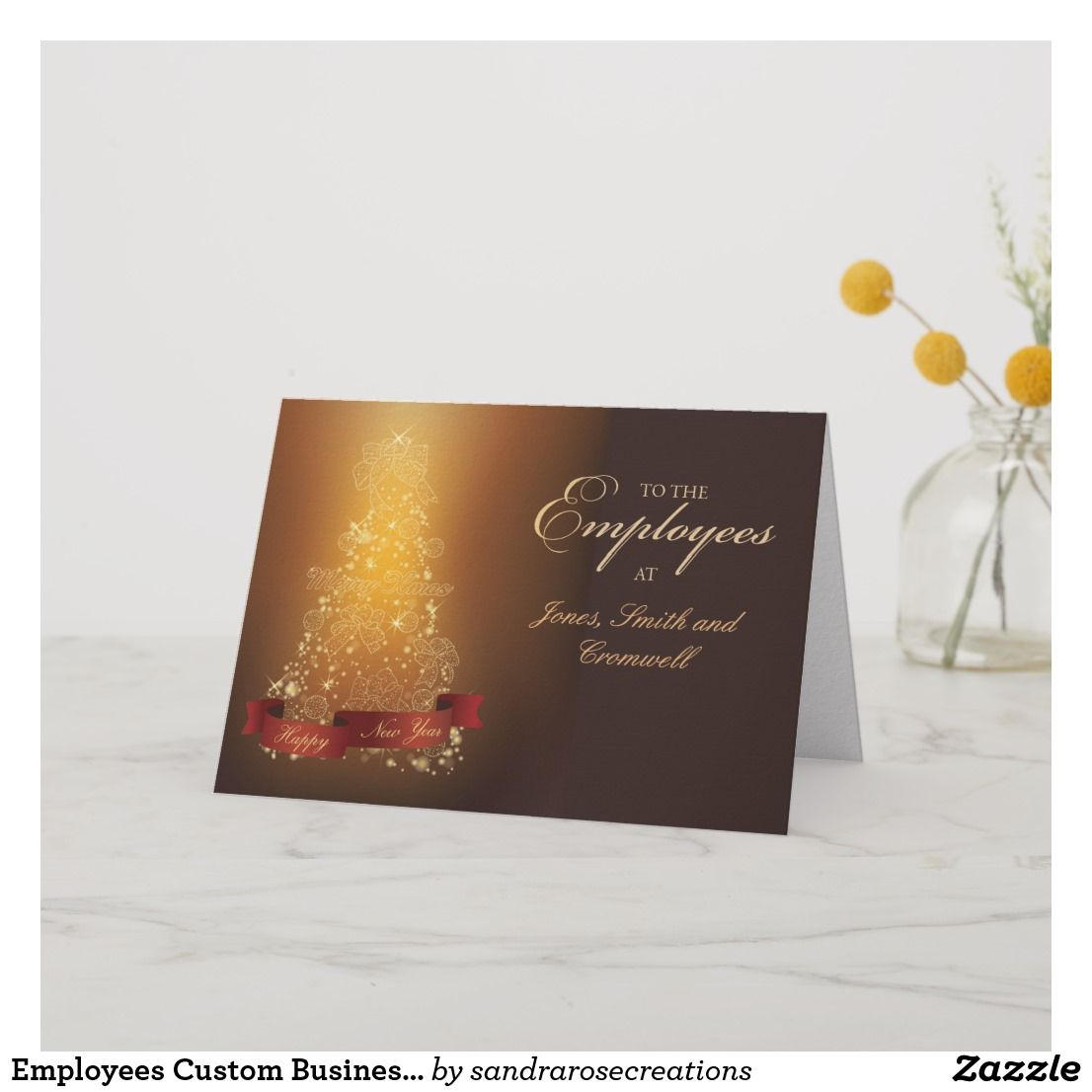Employees Custom Business Thank You at Christmas Card