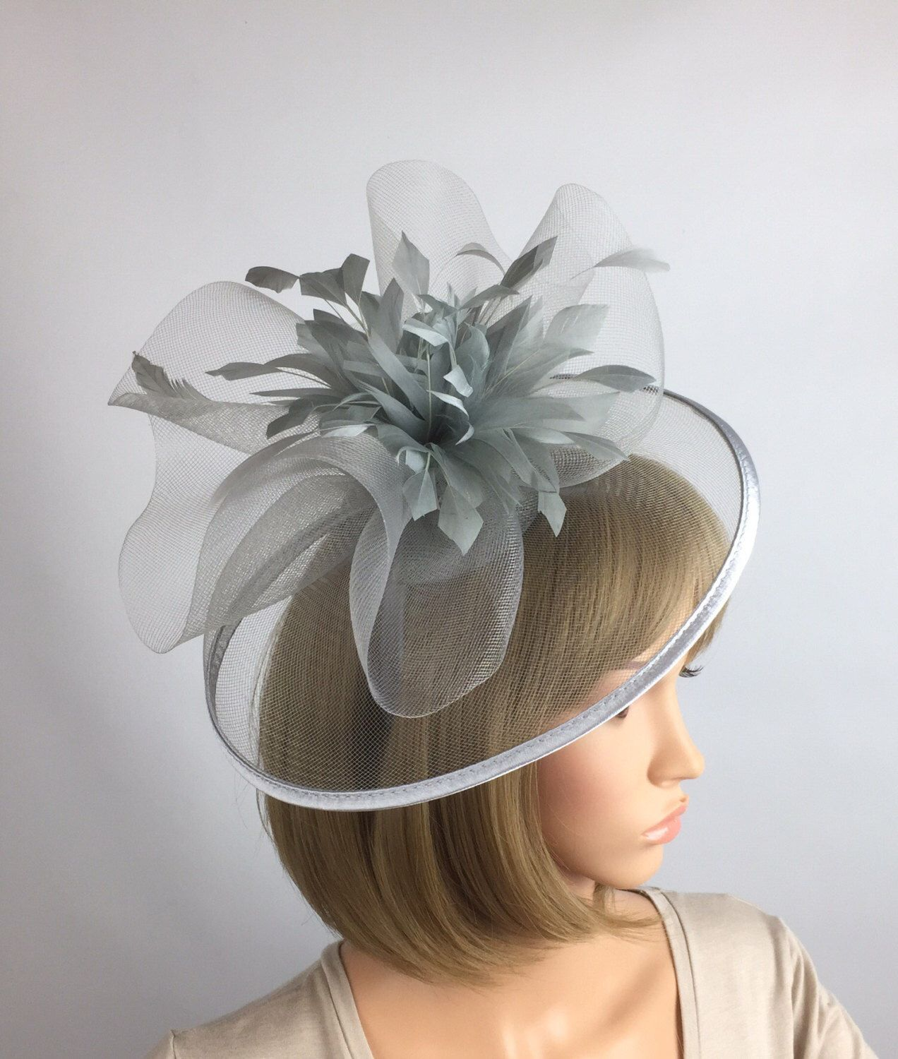 d89182ae8ba4a Silver Fascinator Grey fascinator on Aliceband Hairband mother of Bride  Wedding Ascot races occasion