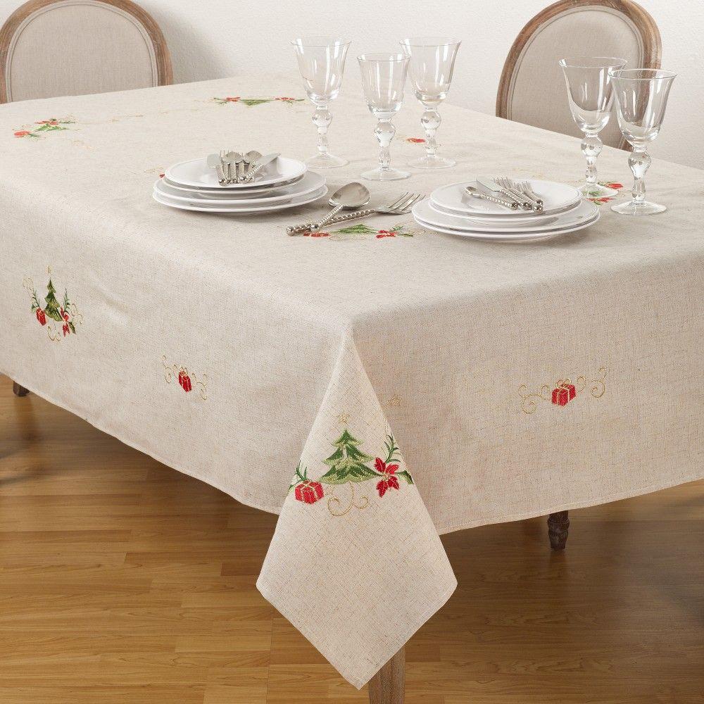 Tablecloth Warm Beige Saro Lifestyle Christmas Table Cloth Christmas Tree Design Tree Designs