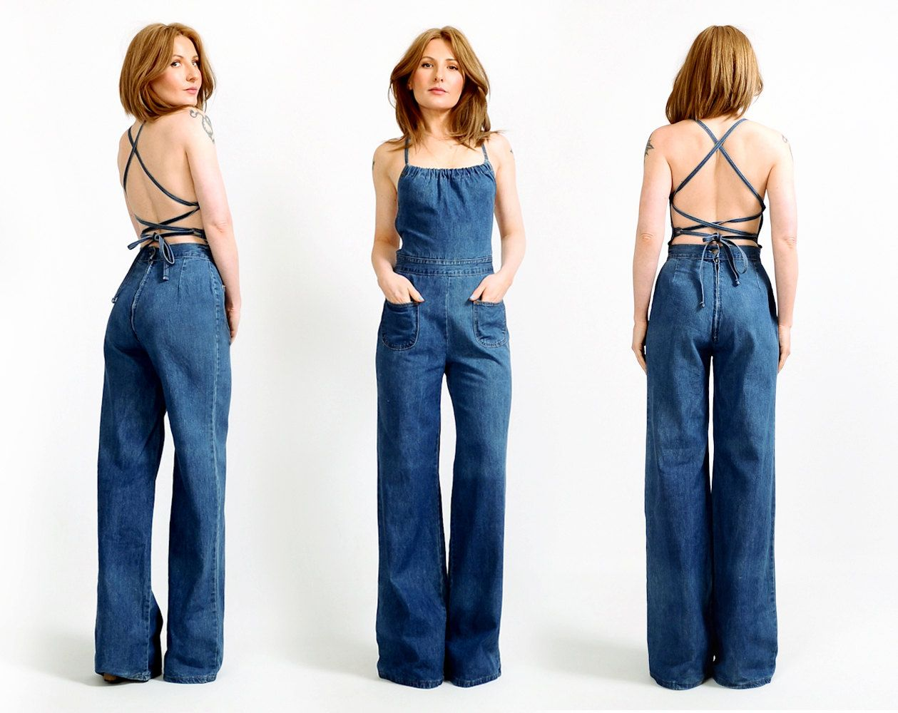 a4919993dbe RESERVED for Chloe vintage 70s BACKLESS denim bell bottom Jumpsuit S wide  leg overalls coveralls halter