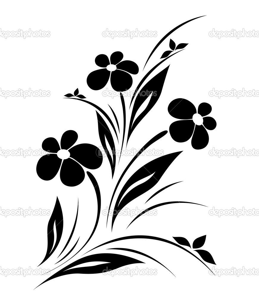 Vector Line Drawing Flower Pattern : Vector flower pattern on white background — stock