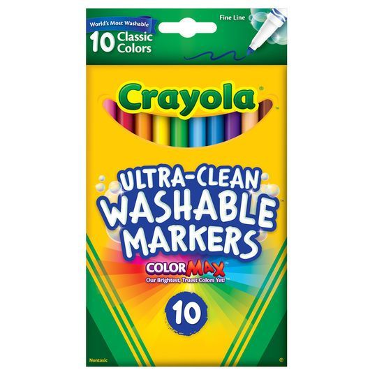 Crayola UltraClean Fine Line Classic Color Markers 10 Count