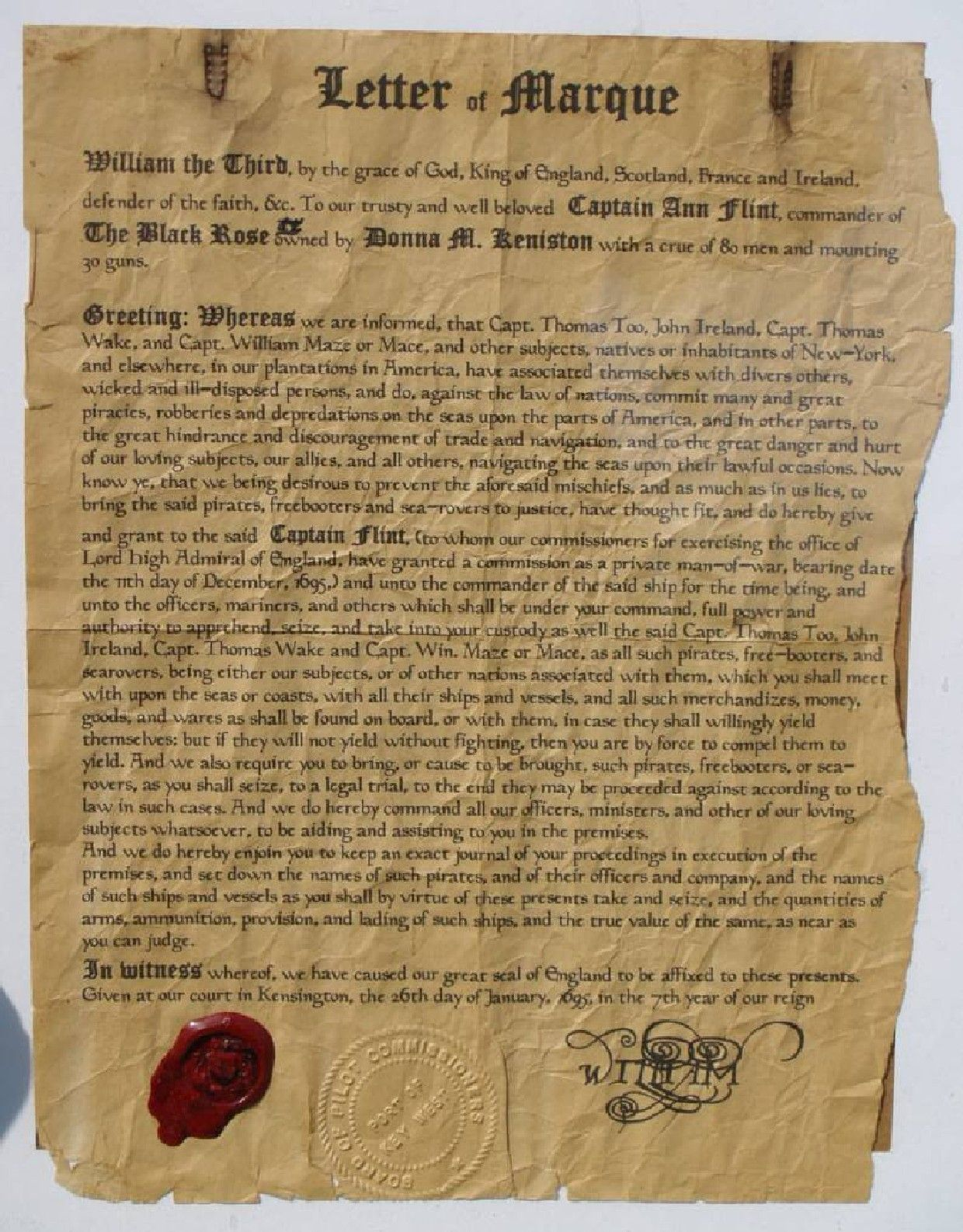 "A pirate's ""Letter of Marque"" - a license by a government ..."