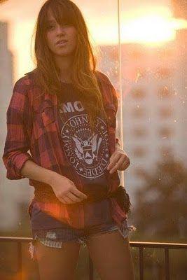 Rock casual plaid ramones shirt