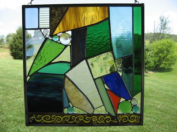Abstract Stained Gl Hanging Window Panel Ooak Painted Green Blue Wire Accents Gems Panels