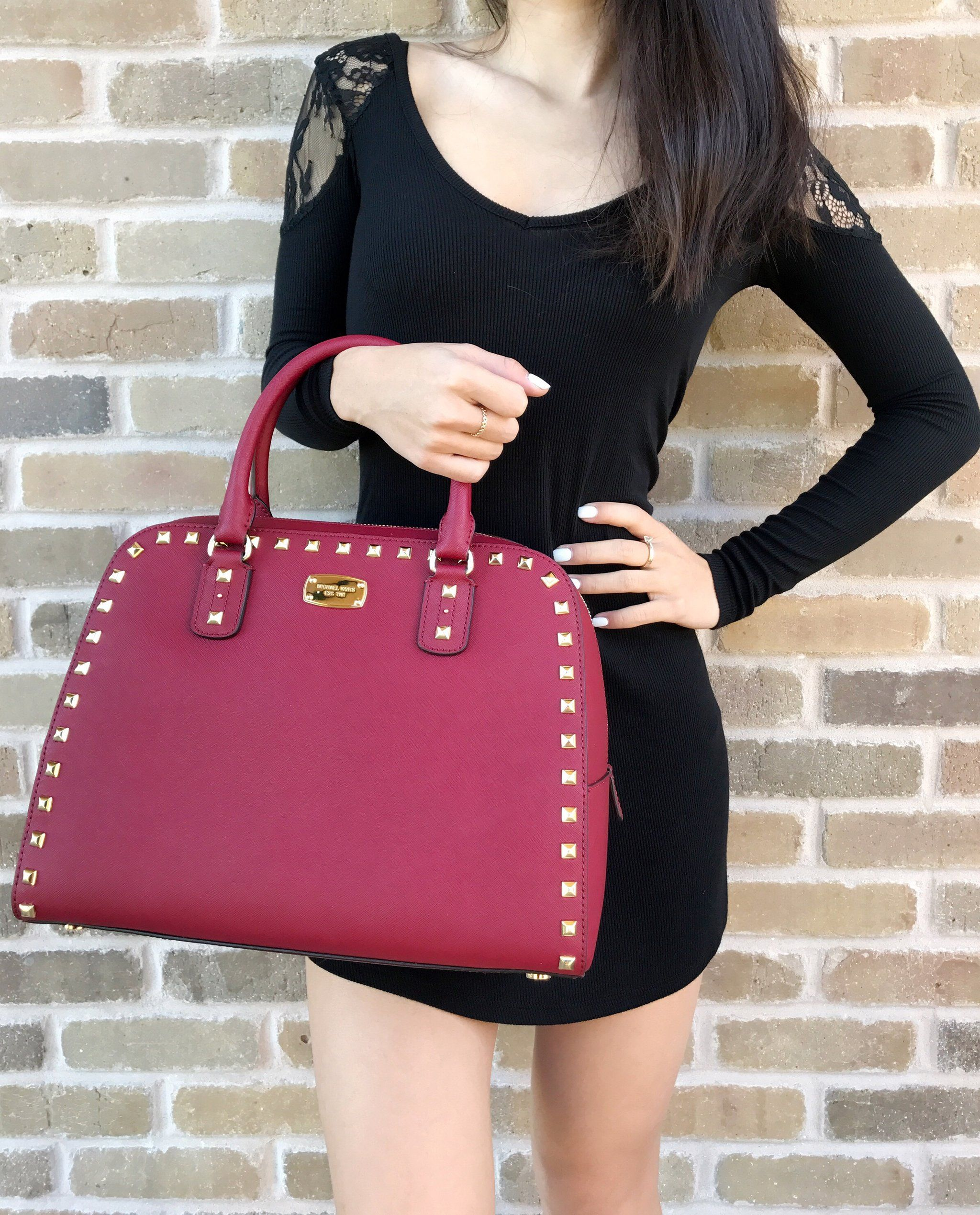 1dd04350be26 Michael Kors Sandrine Stud Leather Large Satchel Crossbody Handbag Cherry  Red