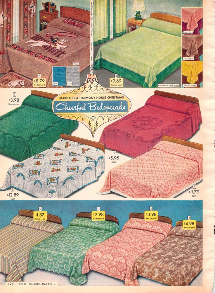 1952 Sears Christmas I Am Obsessed With Tacky Chenille Bed