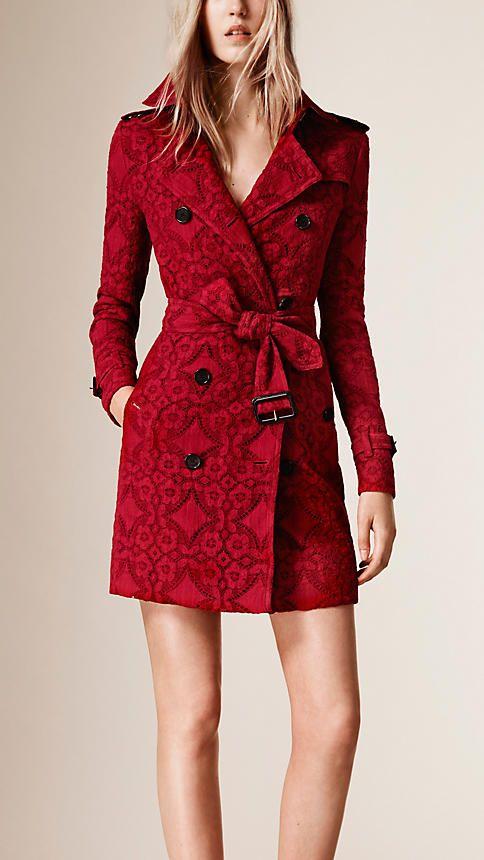 555081aeae4 Gabardine Lace Trench Coat - Burberry. Gabardine Lace Trench Coat -  Burberry Red ...