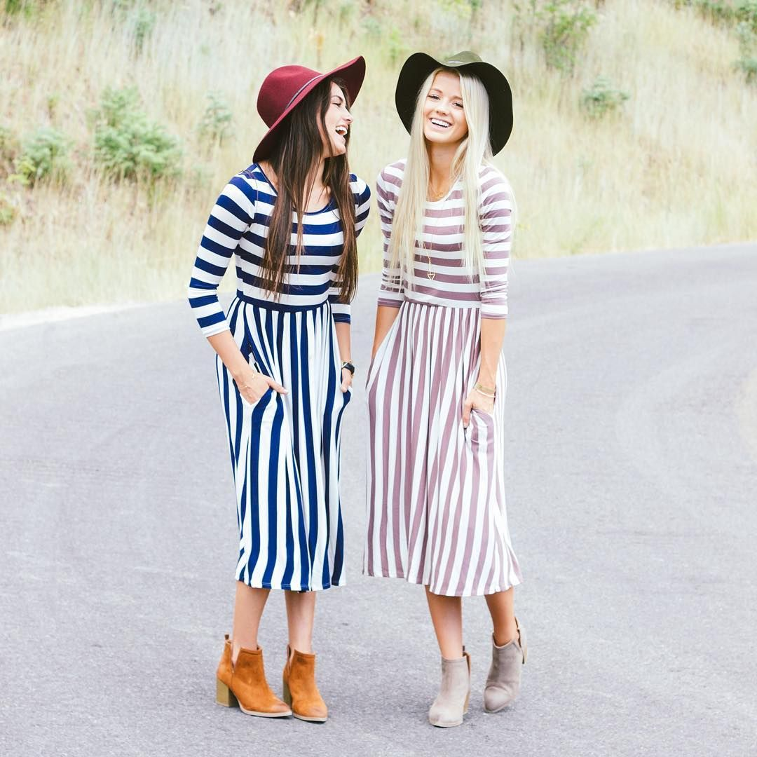 cb3a1a985520 These cute striped mid-length dresses were just added to our website!  (Third…