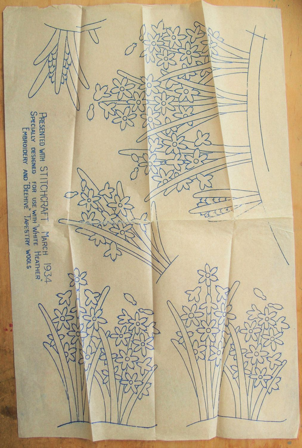 30s floral iron on transfer embroidery transfer pattern 30s floral iron on transfer embroidery transfer pattern embroidery pattern old transfer bankloansurffo Gallery