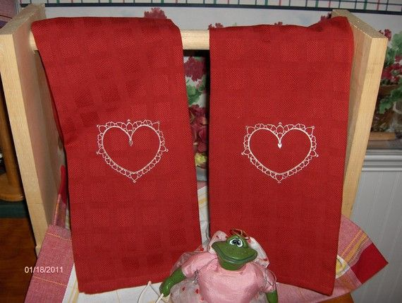 Two VALENTINES red kitchen towels with large hearts by platopooch, $12.00