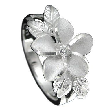 $29.99 Dainty and feminine plumeria with maile leaf ring. Plumeria is adorned with a 2mm cubic zirconia with sand blasted petals and high polished edges to contrast. Our best selling item with excellent feedback! Also backed by the trusted Amazon return policy so buy with confidence! Mahalo!