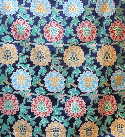 Asian Tibetan Brocade Embroidered Fabric Upholstery Material Dress