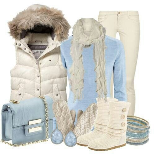 Blue and white outfit