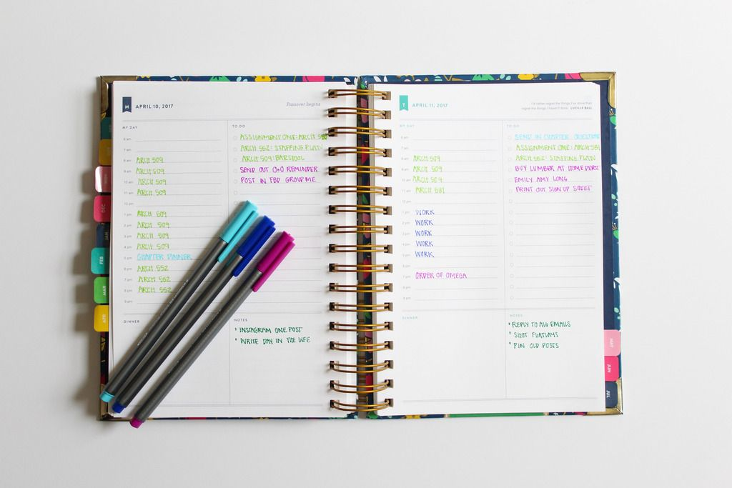 How I organize my Emily Ley Simplified Planner Navy  Stripes - college planner organization
