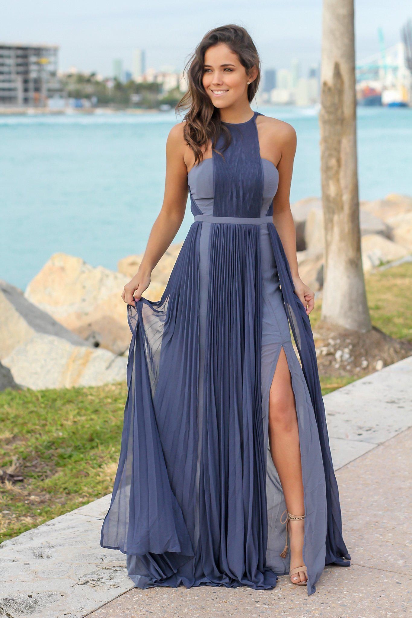 4ab950317a0e1 Slate Pleated Maxi Dress with Side Slits