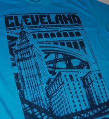 Cleveland Bold Graphic T shirt - Summer Limited Edition Turquoise. GV Art's newest Cleveland Graphic is now available in a Limited Edition Turquoise T shirt.