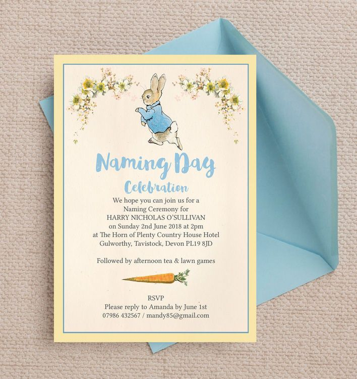 Peter Rabbit Naming Day Ceremony Invitation Naming ceremony and - naming ceremony invitation