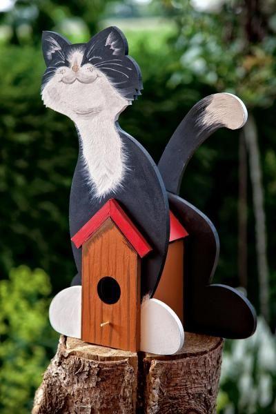 Deko Vogelhaus Katze Mdf Holz Dekorative Vogelhäuser