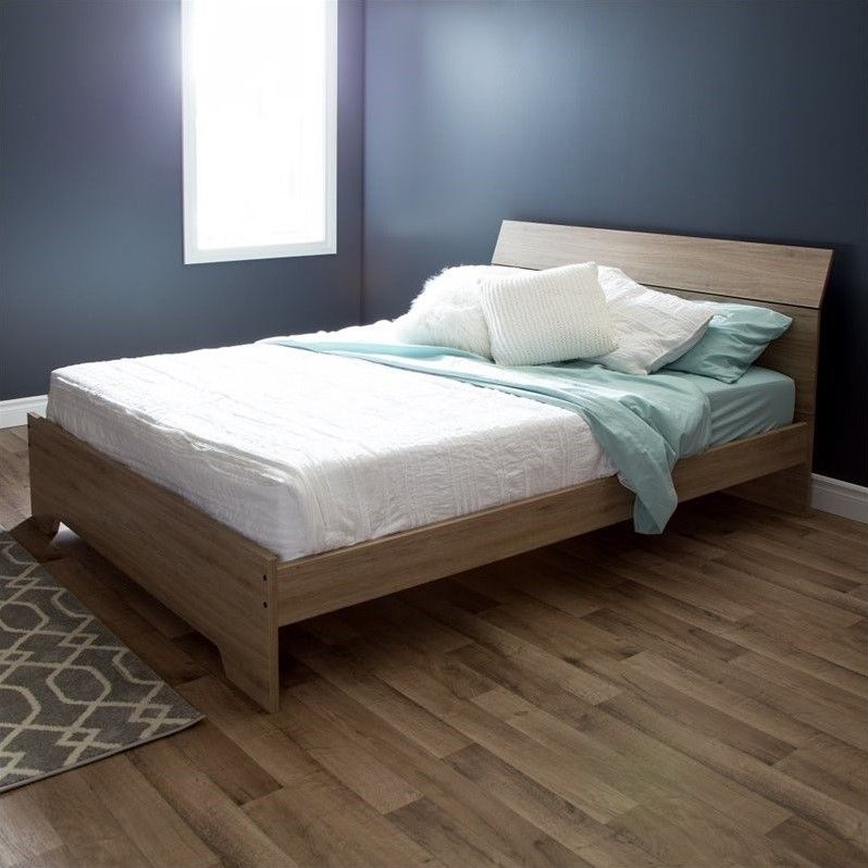 South Shore Vito Queen Wood Platform Bed in Rustic Oak | bed frame
