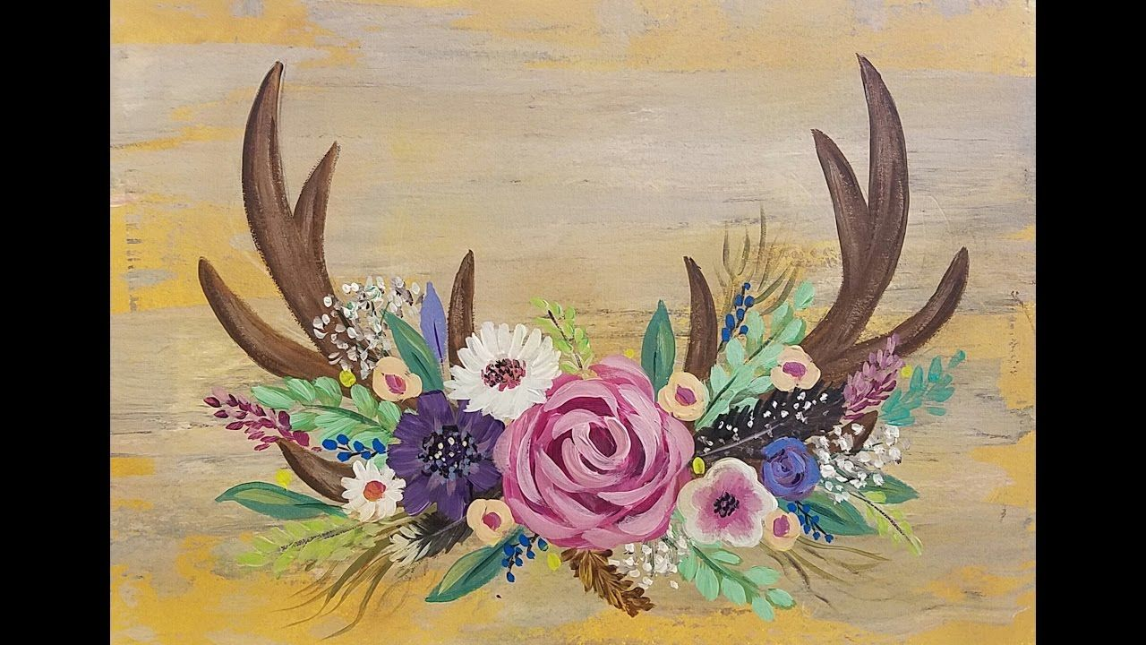 Deer Antlers With Flowers Acrylic Painting Tutorial For