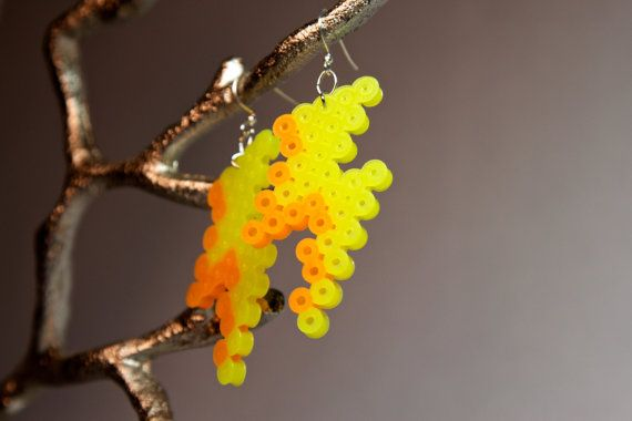 Lightning Bolt Earrings Yellow Lightning Bolt Earrings Perler Beads Earrings