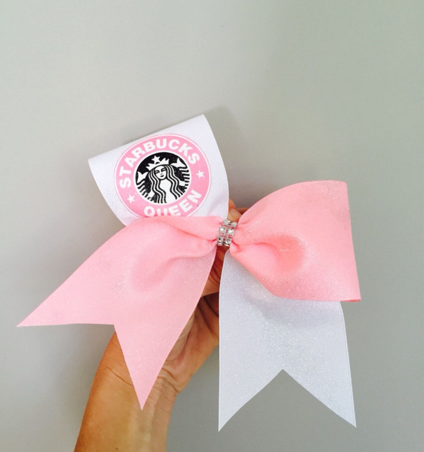 Starbucks Queen Pink and White Cheer Bow by CharmingFeltedFinds