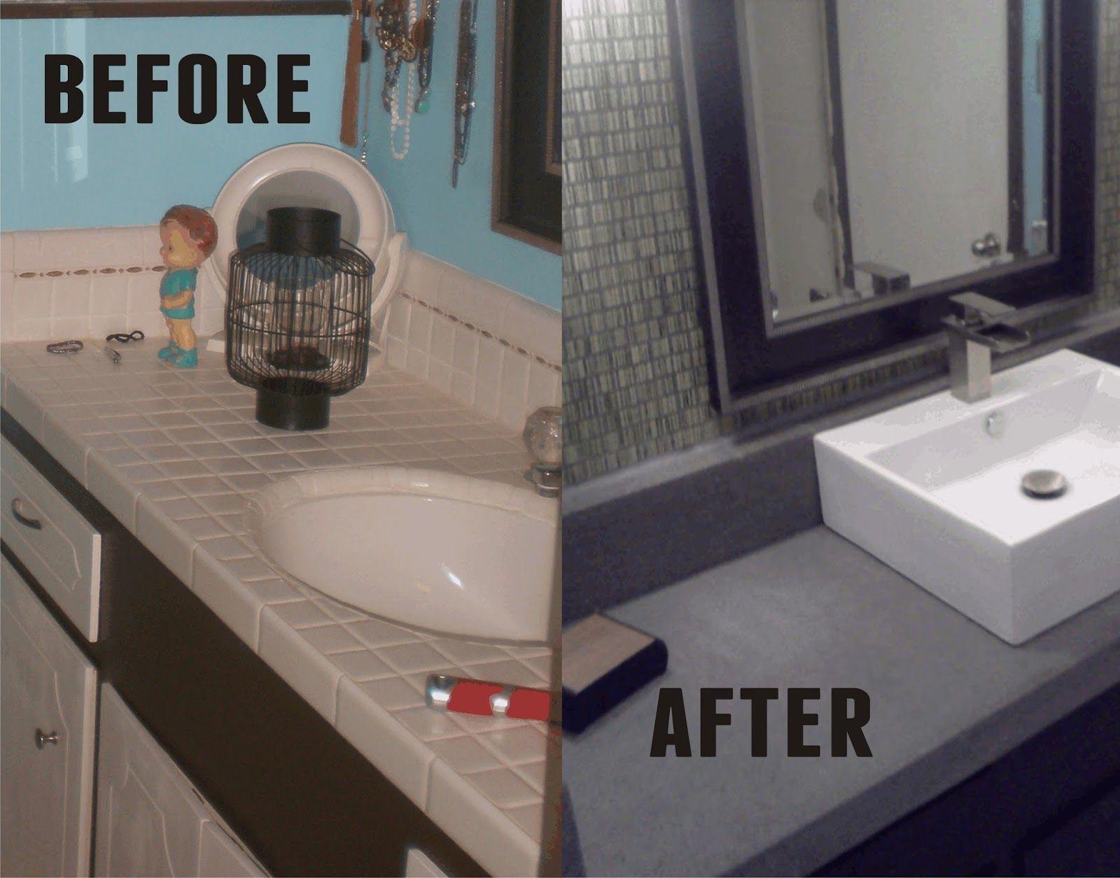 Tiki Time DIY: DIY Bathroom Redo   Concrete Countertop