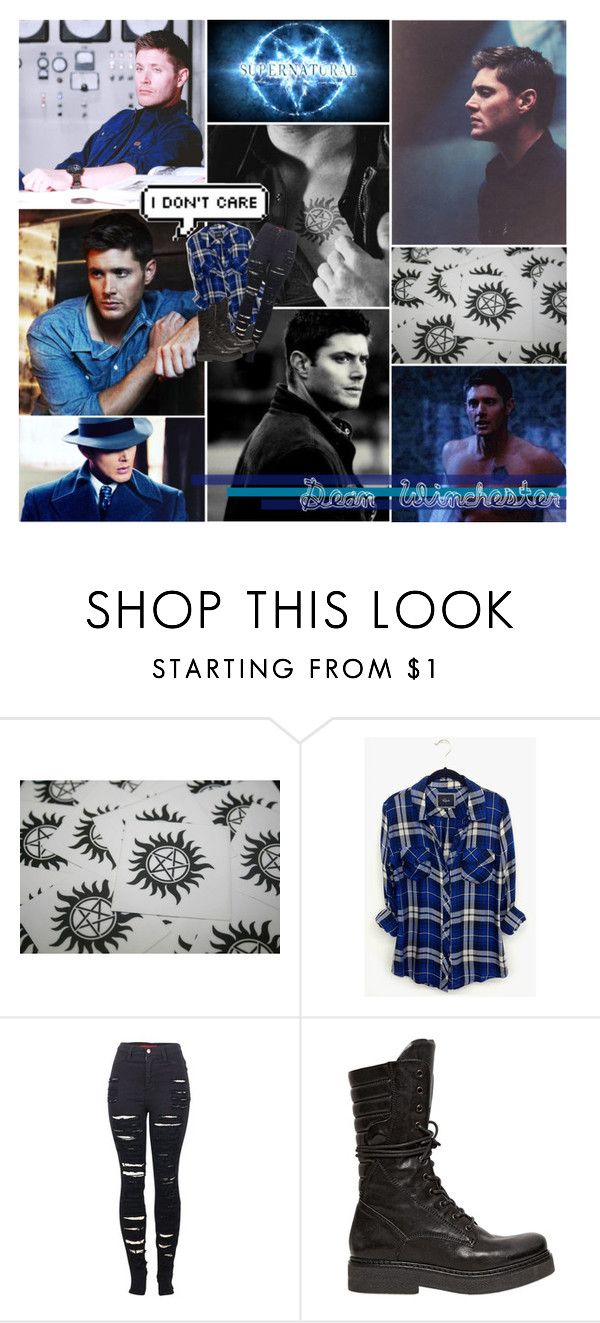 """Angel or not, I will stab you in your face - Supernatural - Dean Winchester"" by aliiceroseee ❤ liked on Polyvore featuring Rails, 2LUV, Janet & Janet and FandomBattlesOne"