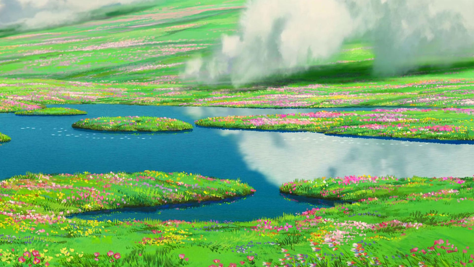 Meadows From Howl S Moving Castle 1920x1080 Studio Ghibli Background Howls Moving Castle Wallpaper Howls Moving Castle