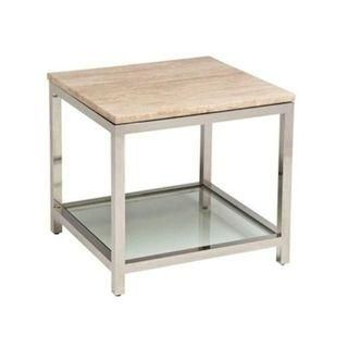 Polished Italian travertine rests on a stainless steel table base with glass insert on bottom. Stunning!