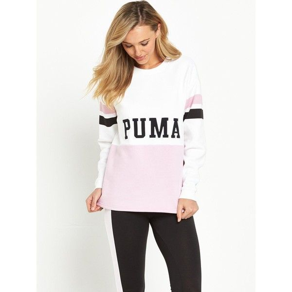 Puma Colour Blocking Crew Sweat (£40) ❤ liked on Polyvore featuring tops, hoodies, sweatshirts, white crew neck sweatshirt, crewneck sweatshirt, puma sweatshirt, colorblock top and crew top