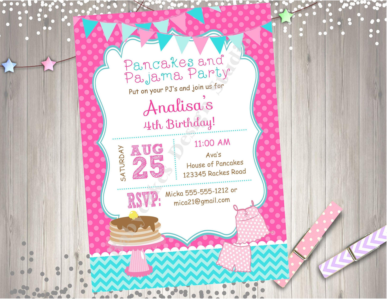 Pancakes and Pajamas Birthday Party Invitation Invite Pancake Party ...