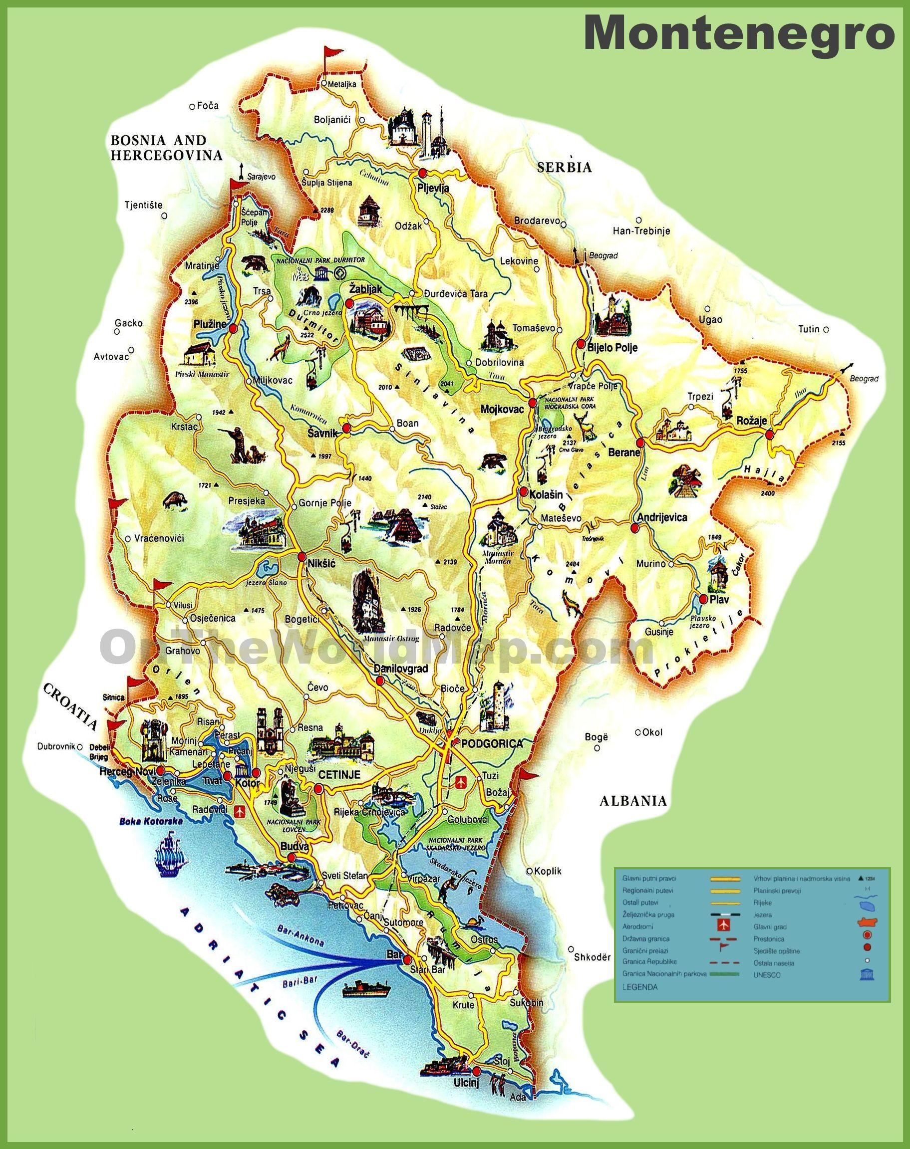 Montenegro Tourist Map Montenegro Map Tourist Map Montenegro