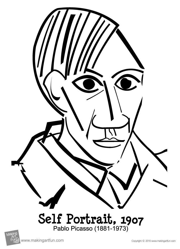 Pablo Picasso Self Portrait Coloring Sheet Free Printable Picasso Self Portrait Picasso Art Picasso Coloring